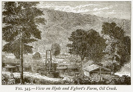 View on Hyde and Egbert's Farm, Oil Creek. Illustration from Discoveries and Inventions by Robert Routledge (9th edn, George Routledge, 1891).