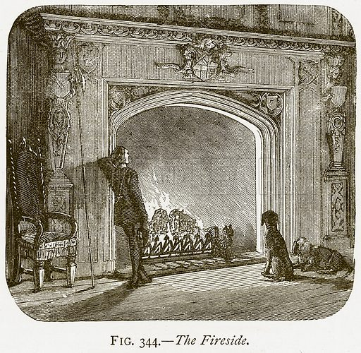 The Fireside. Illustration from Discoveries and Inventions by Robert Routledge (9th edn, George Routledge, 1891).
