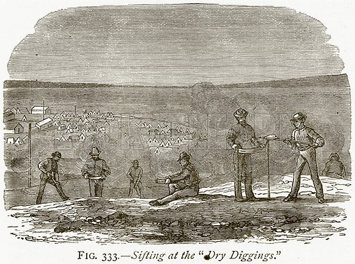 """Sifting at the """"Dry Diggings."""" Illustration from Discoveries and Inventions by Robert Routledge (9th edn, George Routledge, 1891)."""