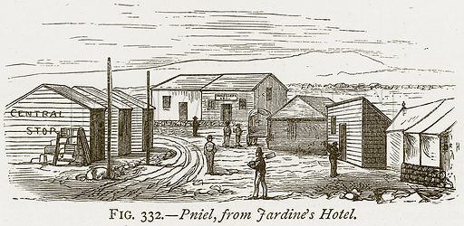 Pniel, from Jardine's Hotel. Illustration from Discoveries and Inventions by Robert Routledge (9th edn, George Routledge, 1891).