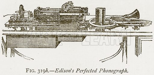 Edison's Perfected Phonograph. Illustration from Discoveries and Inventions by Robert Routledge (9th edn, George Routledge, 1891).