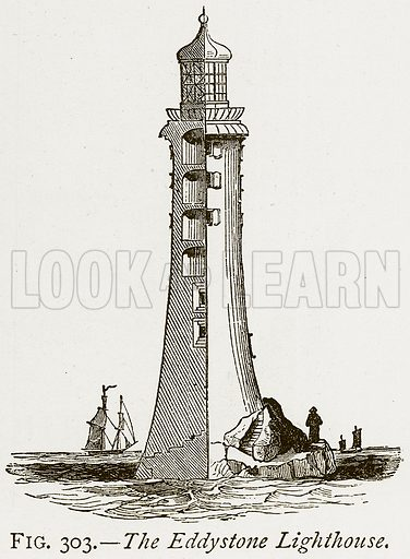 The Eddystone Lighthouse. Illustration from Discoveries and Inventions by Robert Routledge (9th edn, George Routledge, 1891).