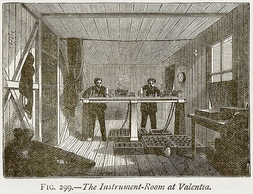 The Instrument-Room at Valentia. Illustration from Discoveries and Inventions by Robert Routledge (9th edn, George Routledge, 1891).