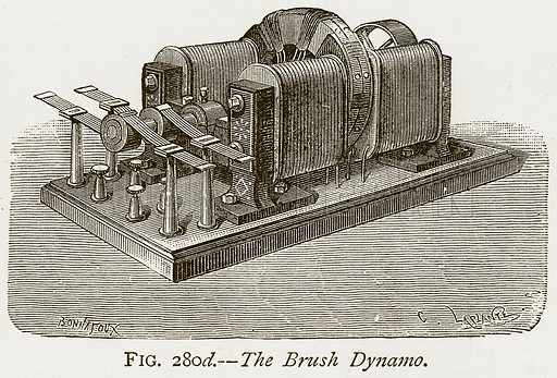The Brush Dynamo. Illustration from Discoveries and Inventions by Robert Routledge (9th edn, George Routledge, 1891).