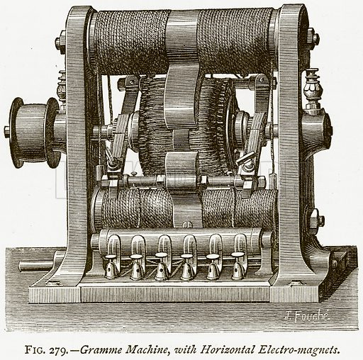 Gramme Machine, with Horizontal Electro-Magnets. Illustration from Discoveries and Inventions by Robert Routledge (9th edn, George Routledge, 1891).
