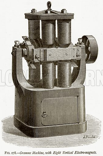 Gramme Machine, with Eight Vertical Electro-Magnets. Illustration from Discoveries and Inventions by Robert Routledge (9th edn, George Routledge, 1891).