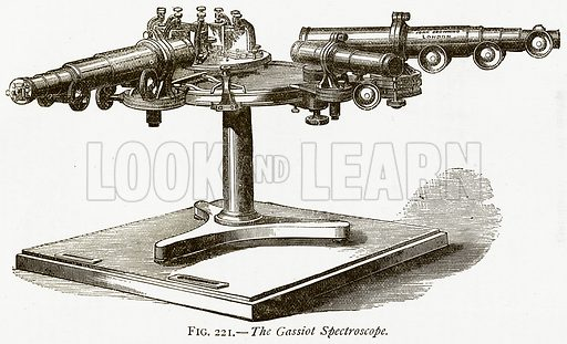 The Gassiot Spectroscope. Illustration from Discoveries and Inventions by Robert Routledge (9th edn, George Routledge, 1891).