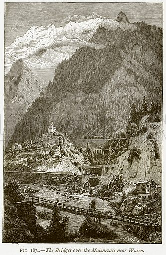 The Bridges over the Maienreuss near Wasen. Illustration from Discoveries and Inventions by Robert Routledge (9th edn, George Routledge, 1891).