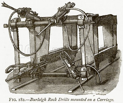 Burleigh Rock Drills Mounted on a Carriage. Illustration from Discoveries and Inventions by Robert Routledge (9th edn, George Routledge, 1891).