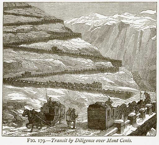 Transit by Diligence over Mont Cenis. Illustration from Discoveries and Inventions by Robert Routledge (9th edn, George Routledge, 1891).