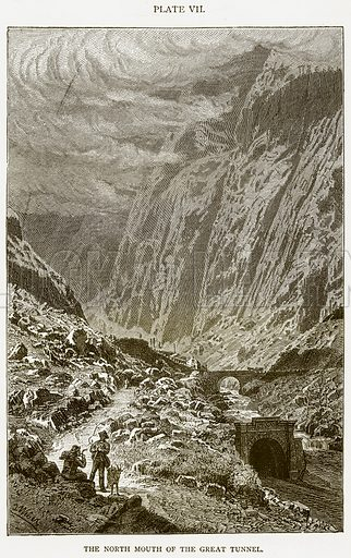 The North Mouth of the Great Tunnel. Illustration from Discoveries and Inventions by Robert Routledge (9th edn, George Routledge, 1891).