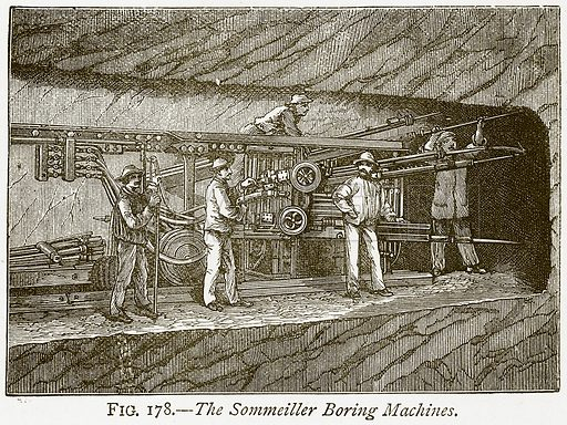 The Sommeiller Boring Machines. Illustration from Discoveries and Inventions by Robert Routledge (9th edn, George Routledge, 1891).