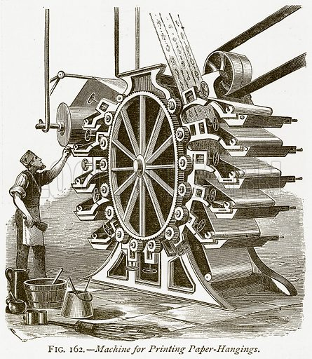 Machine for Printing Paper-Hangings. Illustration from Discoveries and Inventions by Robert Routledge (9th edn, George Routledge, 1891).