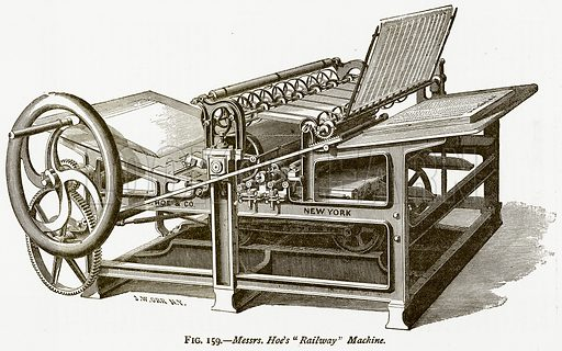 """Messrs. Hoe's """"Railway"""" Machine. Illustration from Discoveries and Inventions by Robert Routledge (9th edn, George Routledge, 1891)."""
