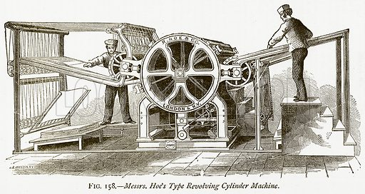 Messrs. Hoe's Type Revolving Cylinder Machine. Illustration from Discoveries and Inventions by Robert Routledge (9th edn, George Routledge, 1891).