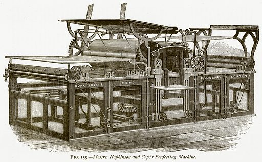 Messrs. Hopkinson and Cope's Perfecting Machine. Illustration from Discoveries and Inventions by Robert Routledge (9th edn, George Routledge, 1891).