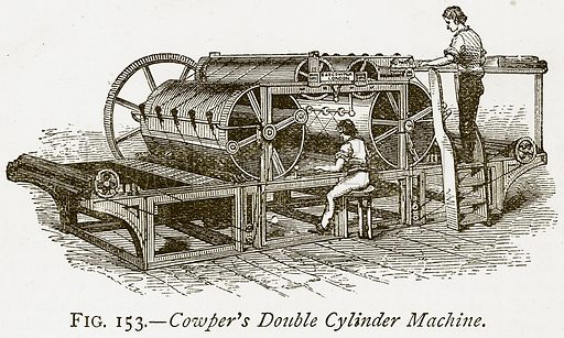 Cowper's Double Cylinder Machine. Illustration from Discoveries and Inventions by Robert Routledge (9th edn, George Routledge, 1891).