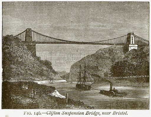 Clifton Suspension Bridge, near Bristol. Illustration from Discoveries and Inventions by Robert Routledge (9th edn, George Routledge, 1891).