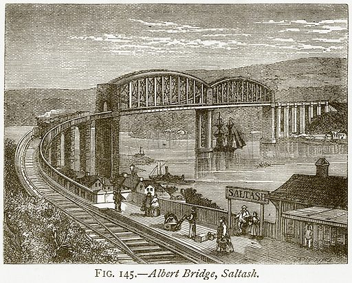 Albert Bridge, Saltash. Illustration from Discoveries and Inventions by Robert Routledge (9th edn, George Routledge, 1891).