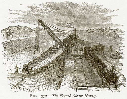 The French Steam Navvy. Illustration from Discoveries and Inventions by Robert Routledge (9th edn, George Routledge, 1891).