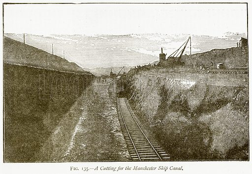 A Cutting for the Manchester Ship Canal. Illustration from Discoveries and Inventions by Robert Routledge (9th edn, George Routledge, 1891).