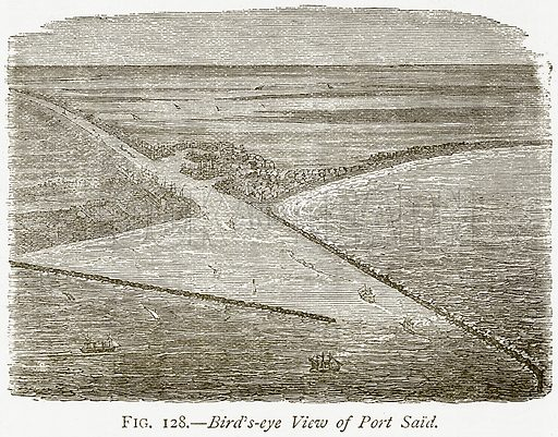 Bird's-Eye View of Port Said. Illustration from Discoveries and Inventions by Robert Routledge (9th edn, George Routledge, 1891).