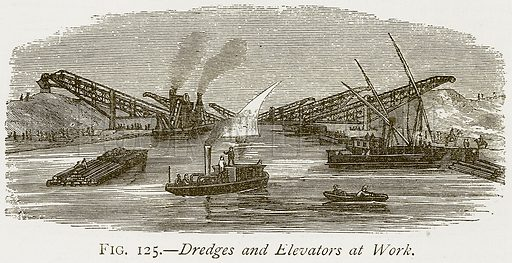 Dredges and Elevators at Work. Illustration from Discoveries and Inventions by Robert Routledge (9th edn, George Routledge, 1891).