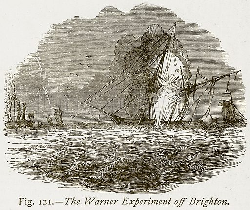 The Warner Experiment off Brighton. Illustration from Discoveries and Inventions by Robert Routledge (9th edn, George Routledge, 1891).