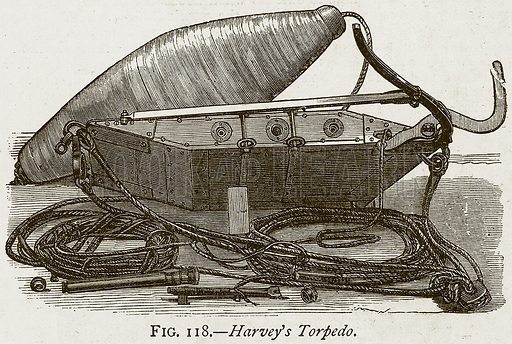 Harvey's Torpedo. Illustration from Discoveries and Inventions by Robert Routledge (9th edn, George Routledge, 1891).
