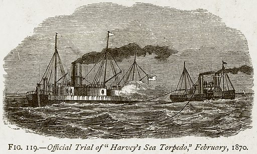 """Official Trial of """"Harvey's Sea Torpedo,"""" February, 1870. Illustration from Discoveries and Inventions by Robert Routledge (9th edn, George Routledge, 1891)."""