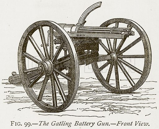 The Gatling Battery Gun. – Front View. Illustration from Discoveries and Inventions by Robert Routledge (9th edn, George Routledge, 1891).