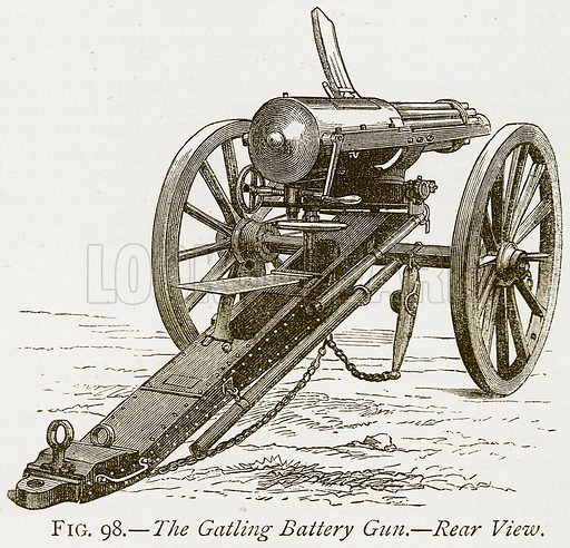 The Gatling Battery Gun.--Rear View. Illustration from Discoveries and Inventions by Robert Routledge (9th edn, George Routledge, 1891).