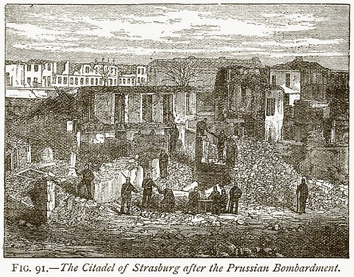 The Citadel of Strasburg after the Prussian Bombardment. Illustration from Discoveries and Inventions by Robert Routledge (9th edn, George Routledge, 1891).