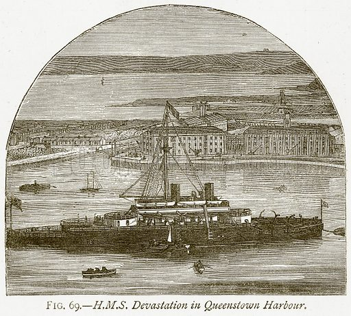 H.M.S. Devastation in Queenstown Harbour. Illustration from Discoveries and Inventions by Robert Routledge (9th edn, George Routledge, 1891).