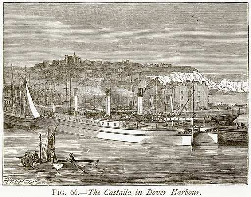The Castalia in Dover Harbour. Illustration from Discoveries and Inventions by Robert Routledge (9th edn, George Routledge, 1891).