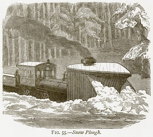 Snow Plough. Illustration from Discoveries and Inventions by Robert Routledge (9th edn, George Routledge, 1891).