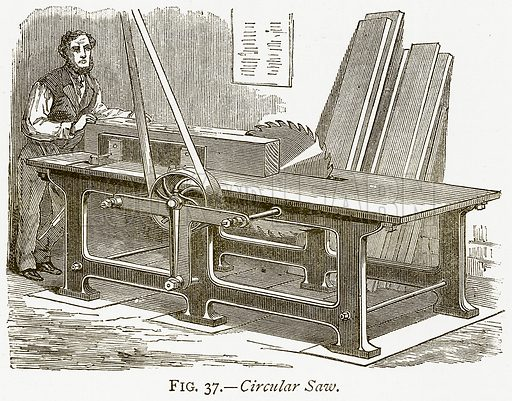 Circular Saw. Illustration from Discoveries and Inventions by Robert Routledge (9th edn, George Routledge, 1891).