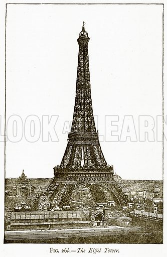 The Eiffel Tower. Illustration from Discoveries and Inventions by Robert Routledge (9th edn, George Routledge, 1891).