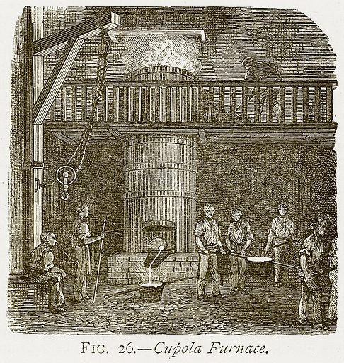 Cupola Furnace. Illustration from Discoveries and Inventions by Robert Routledge (9th edn, George Routledge, 1891).