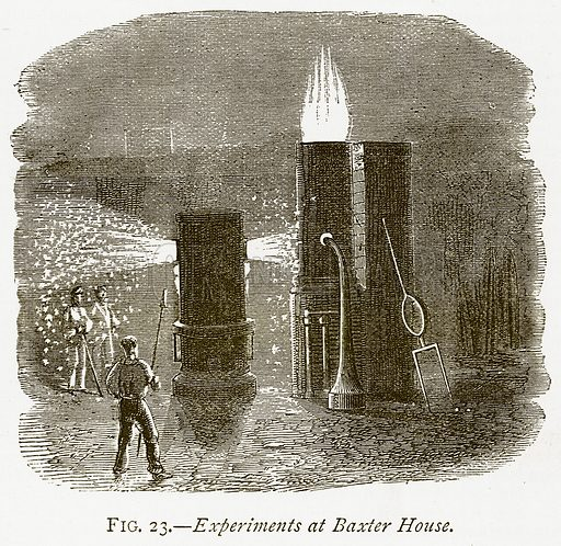 Experiments at Baxter House. Illustration from Discoveries and Inventions by Robert Routledge (9th edn, George Routledge, 1891).