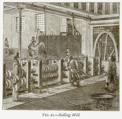 Rolling Mill. Illustration from Discoveries and Inventions by Robert Routledge (9th edn, George Routledge, 1891).