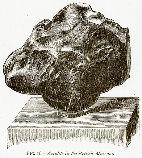 Aerolite in the British Museum. Illustration from Discoveries and Inventions by Robert Routledge (9th edn, George Routledge, 1891).