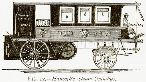 Hancock's Steam Omnibus. Illustration from Discoveries and Inventions by Robert Routledge (9th edn, George Routledge, 1891).