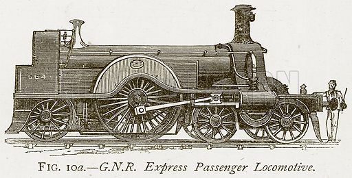 G.N.R. Express Passenger Locomotive. Illustration from Discoveries and Inventions by Robert Routledge (9th edn, George Routledge, 1891).