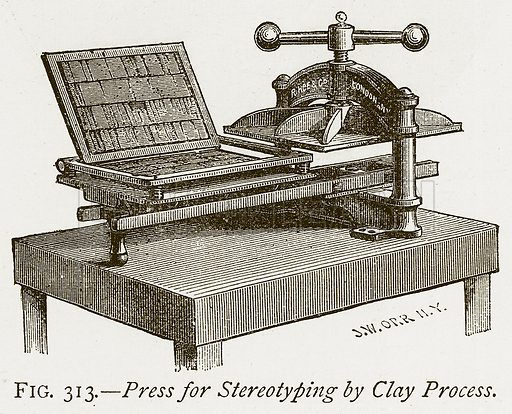 Press for Stereotyping by Clay Process. Illustration from Discoveries and Inventions by Robert Routledge (9th edn, George Routledge, 1891).