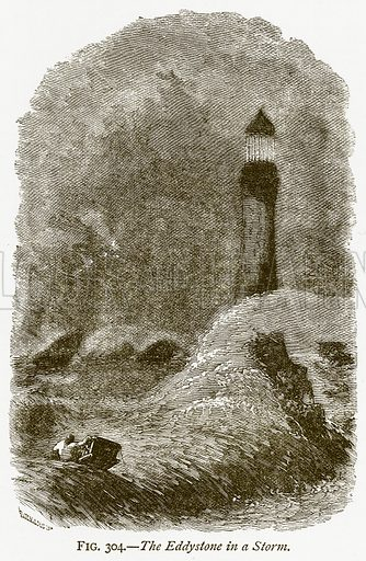 The Eddystone in a Storm. Illustration from Discoveries and Inventions by Robert Routledge (9th edn, George Routledge, 1891).