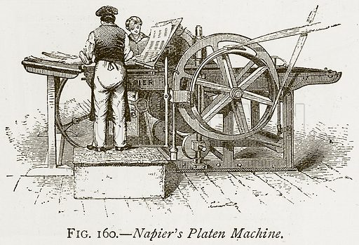 Napier's Platen Machine. Illustration from Discoveries and Inventions by Robert Routledge (9th edn, George Routledge, 1891).