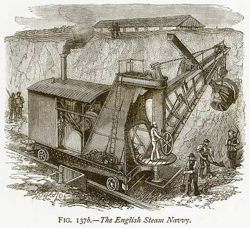 The English Steam Navvy. Illustration from Discoveries and Inventions by Robert Routledge (9th edn, George Routledge, 1891).