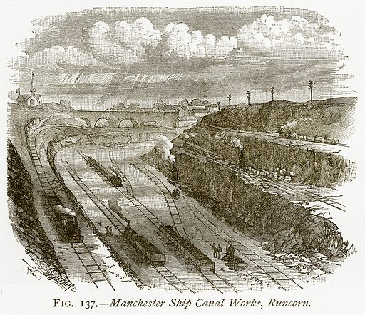 Manchester Ship Canal Works, Runcorn. Illustration from Discoveries and Inventions by Robert Routledge (9th edn, George Routledge, 1891).