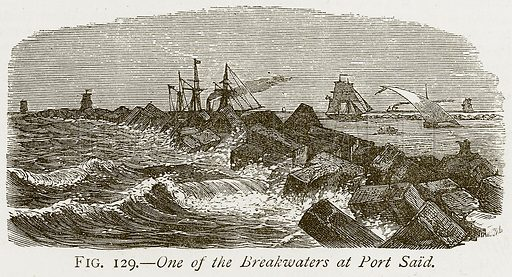 One of the Breakwaters at Port Said. Illustration from Discoveries and Inventions by Robert Routledge (9th edn, George Routledge, 1891).